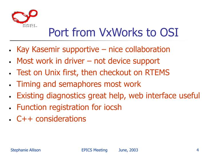 Port from VxWorks to OSI