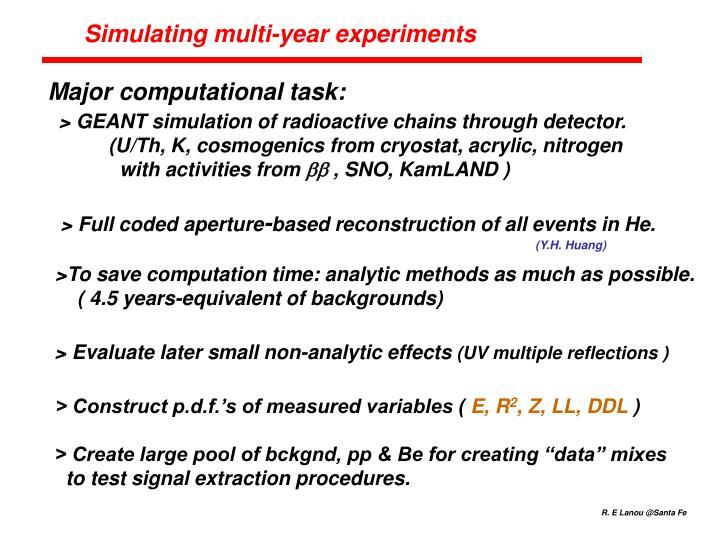 Simulating multi-year experiments