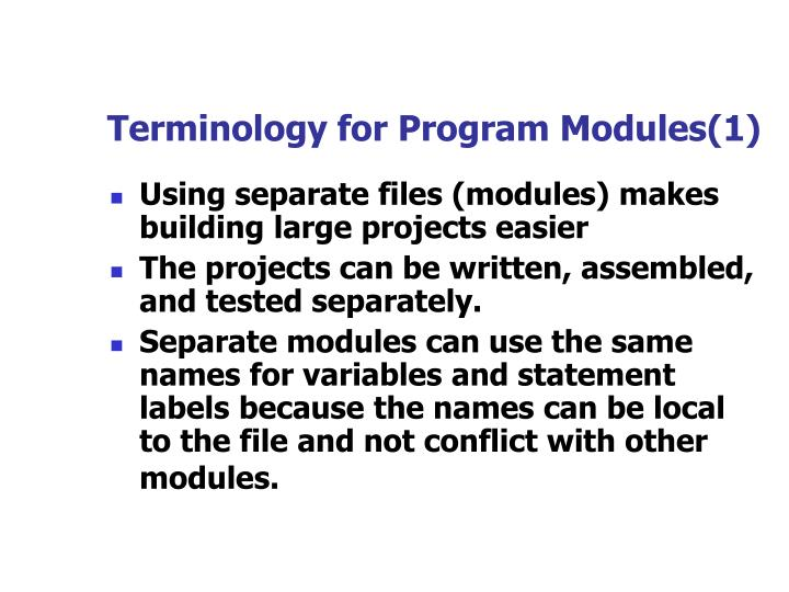 Terminology for Program Modules(1)