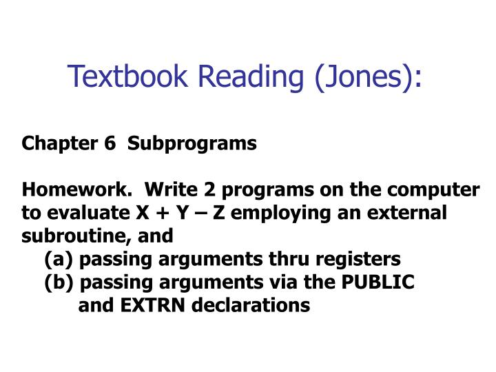 Textbook Reading (Jones):