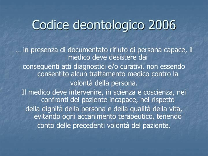 Codice deontologico 2006