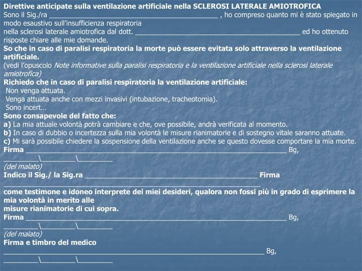 Direttive anticipate sulla ventilazione artificiale nella SCLEROSI LATERALE AMIOTROFICA