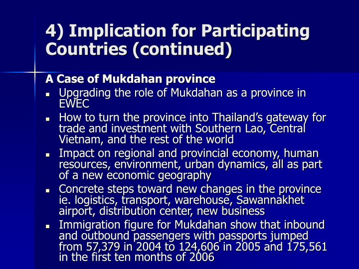 4) Implication for Participating Countries (continued)