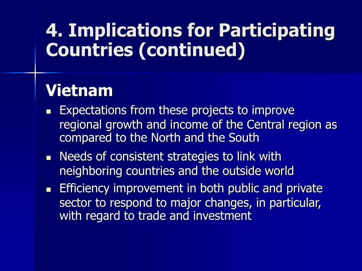 4. Implications for Participating Countries (continued)