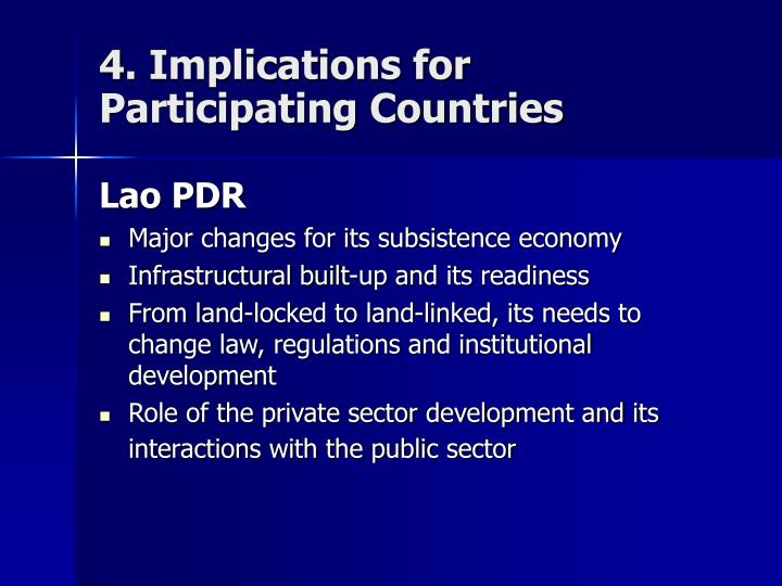 4. Implications for Participating Countries