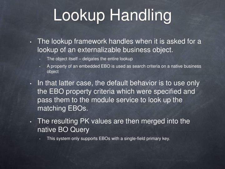 Lookup Handling