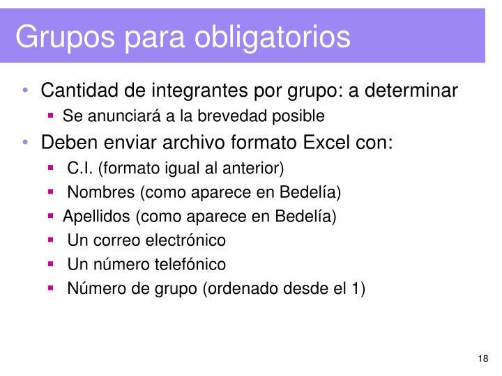 Grupos para obligatorios
