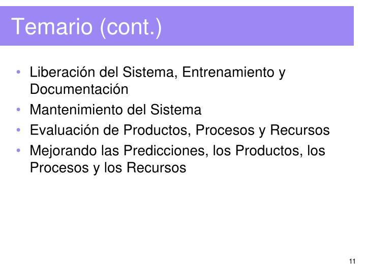 Liberación del Sistema, Entrenamiento y Documentación