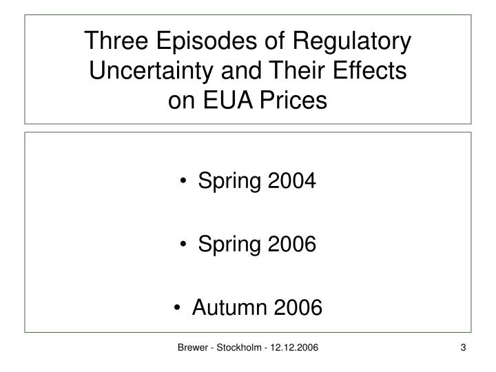 Three episodes of regulatory uncertainty and their effects on eua prices