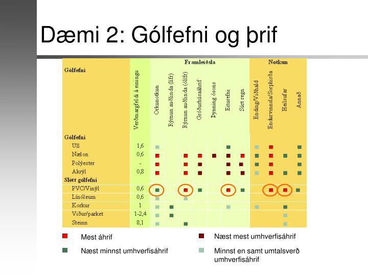 Dæmi 2: Gólfefni og þrif
