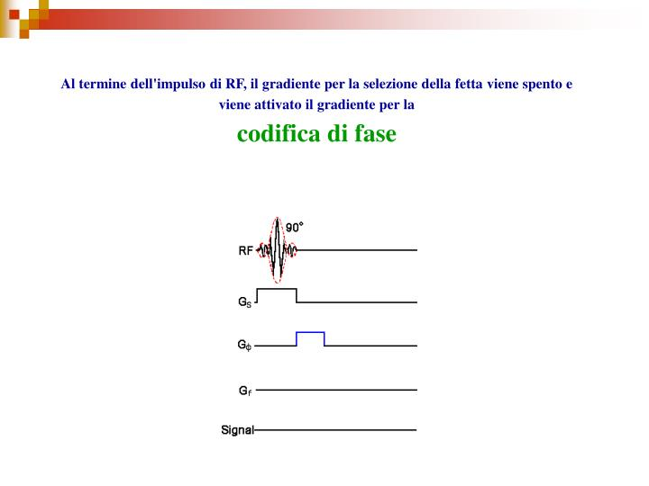Al termine dell'impulso di RF, il gradiente per la selezione della fetta viene spento e viene attivato il gradiente per la