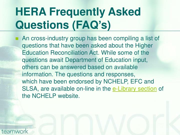 HERA Frequently Asked Questions (FAQ's)