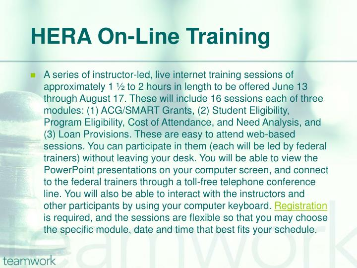 HERA On-Line Training