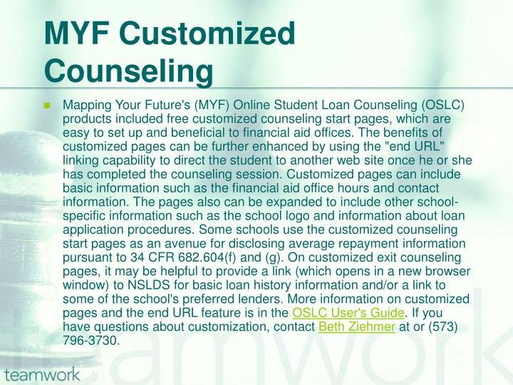 MYF Customized Counseling