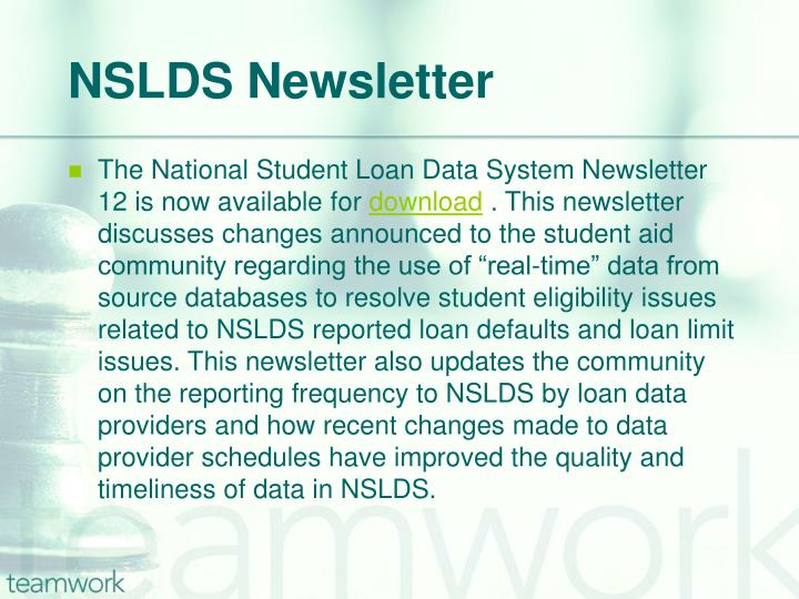 NSLDS Newsletter