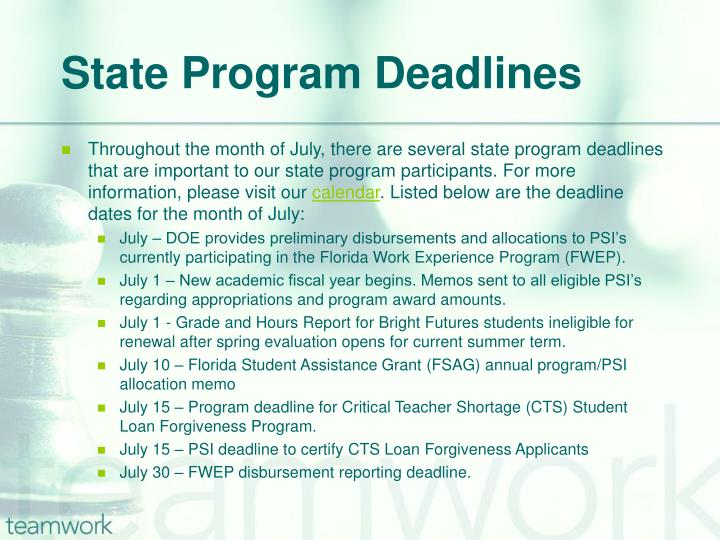 State Program Deadlines