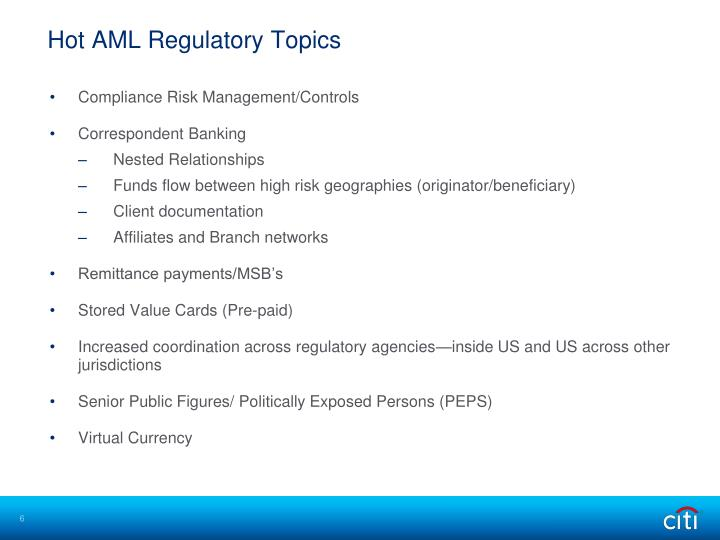 Hot AML Regulatory Topics