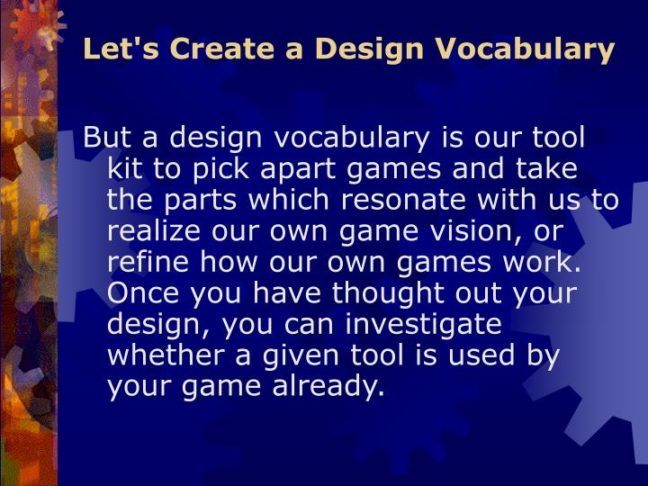 Let's Create a Design Vocabulary