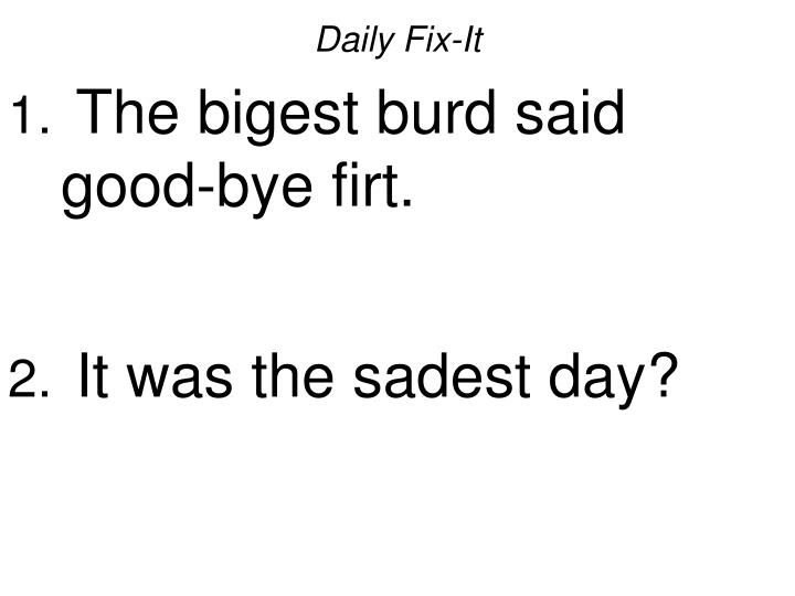 Daily fix it the bigest burd said good bye firt it was the sadest day
