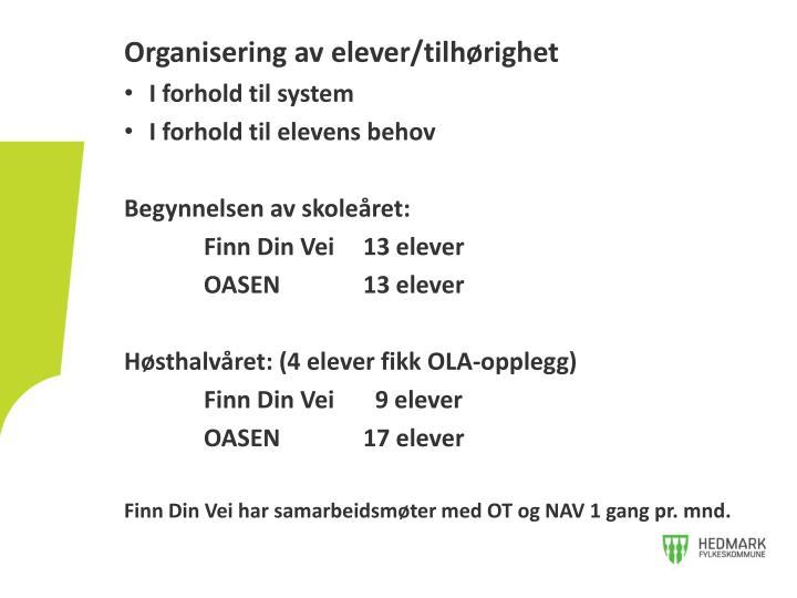 Organisering av elever/tilhørighet