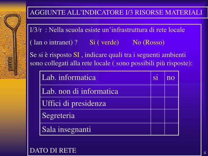 AGGIUNTE ALL'INDICATORE I/3 RISORSE MATERIALI