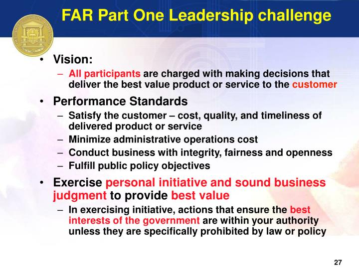 FAR Part One Leadership challenge