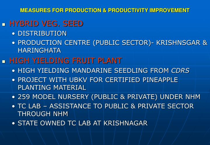 MEASURES FOR PRODUCTION & PRODUCTIVITY IMPROVEMENT