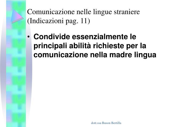 Comunicazione nelle lingue straniere (Indicazioni pag. 11)