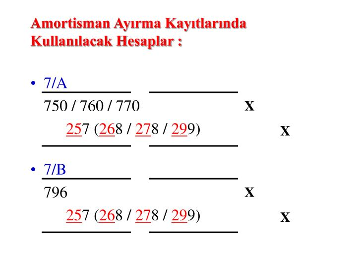 Amortisman Ayırma Kayıtlarında Kullanılacak Hesaplar :