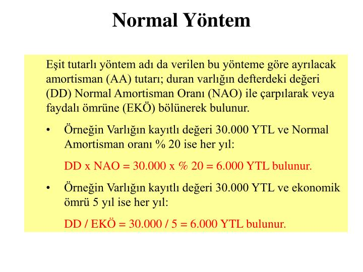 Normal Yöntem