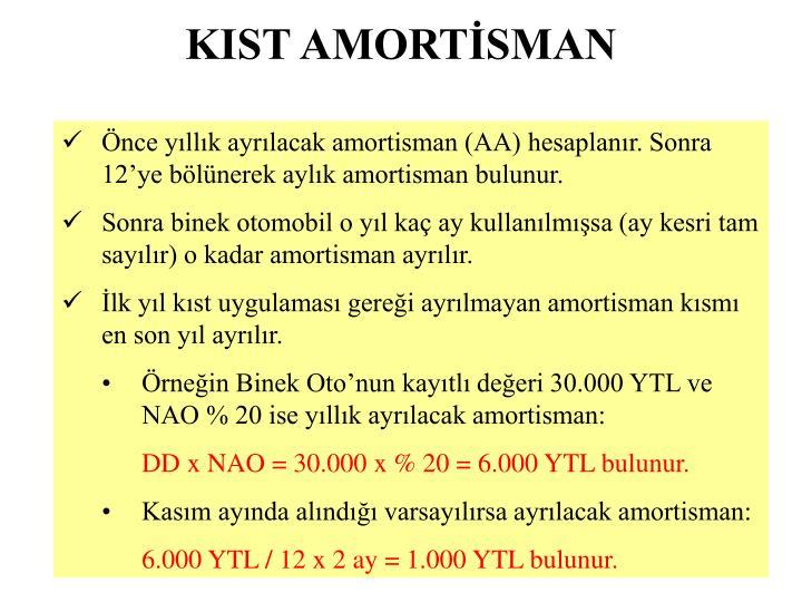 KIST AMORTİSMAN