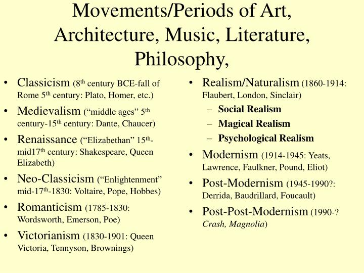 Movements periods of art architecture music literature philosophy