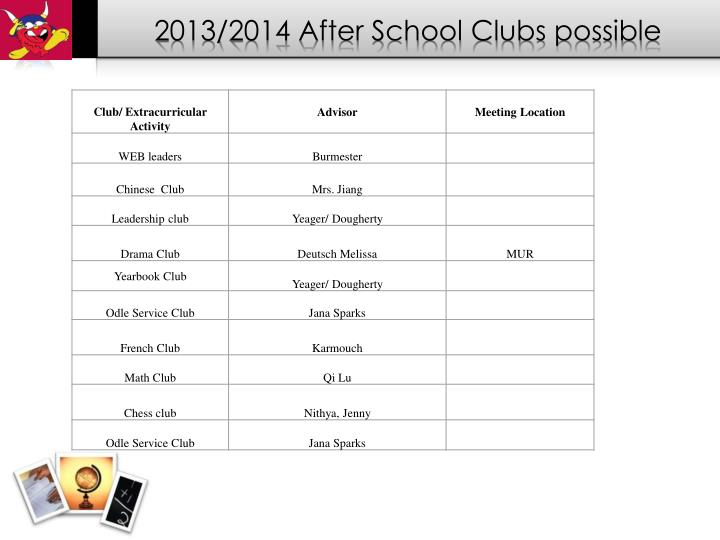 2013/2014 After School Clubs possible