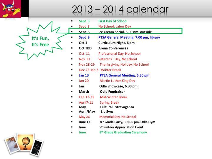 2013 – 2014 calendar