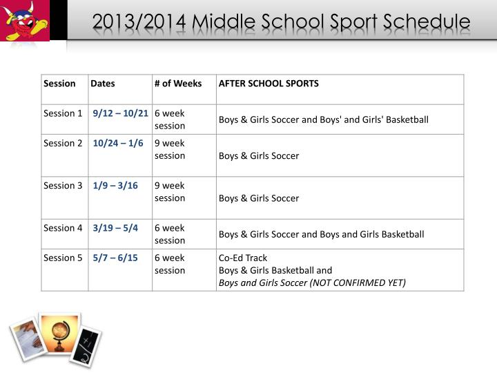 2013/2014 Middle School Sport Schedule