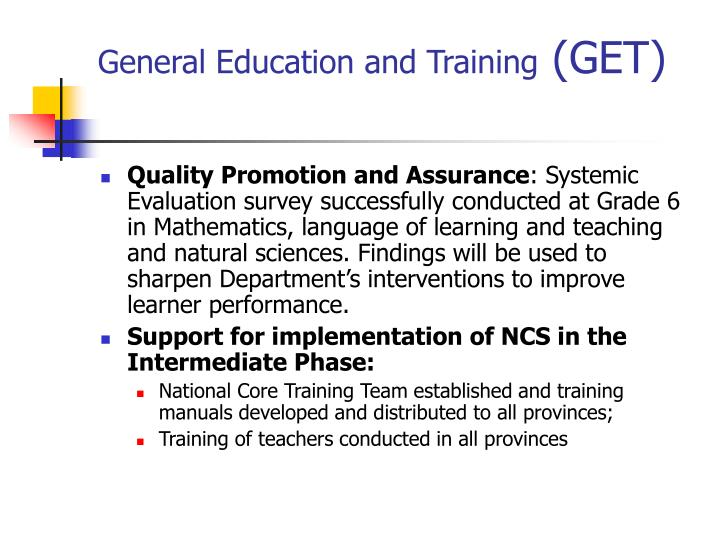 General Education and Training