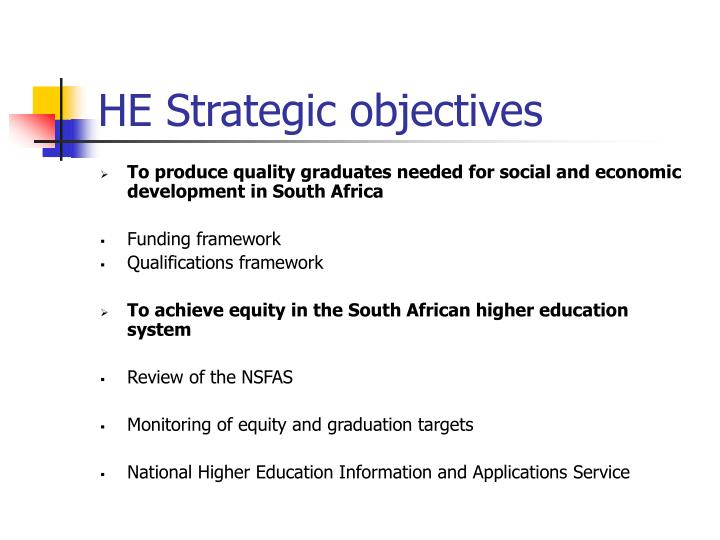 HE Strategic objectives