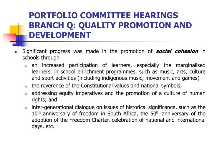 PORTFOLIO COMMITTEE HEARINGS