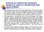 portfolio committee hearings branch q quality promotion and development2