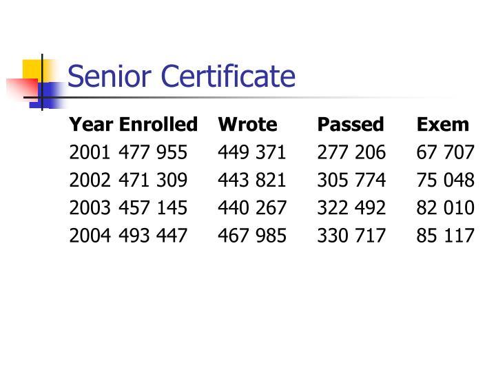 Senior Certificate