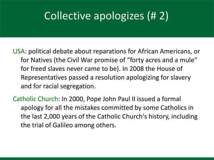 Collective apologizes (# 2)
