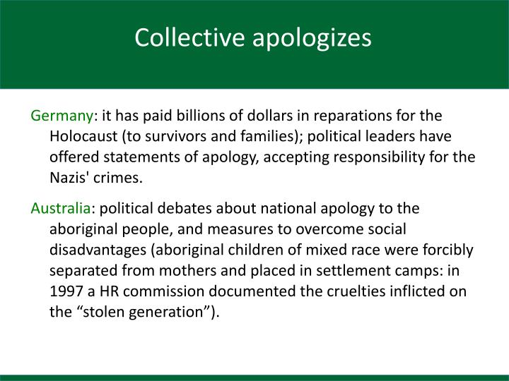 Collective apologizes