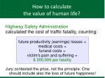 how to calculate the value of human life