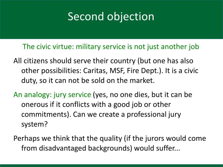 Second objection