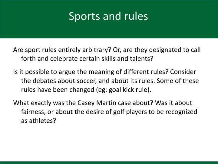 Sports and rules