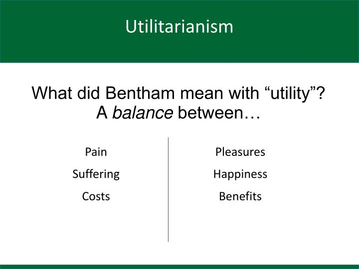 "What did Bentham mean with ""utility""?"