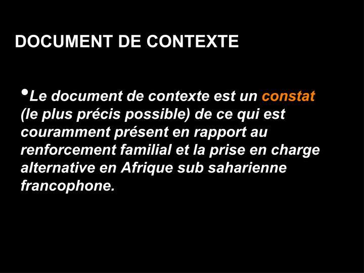 DOCUMENT DE CONTEXTE