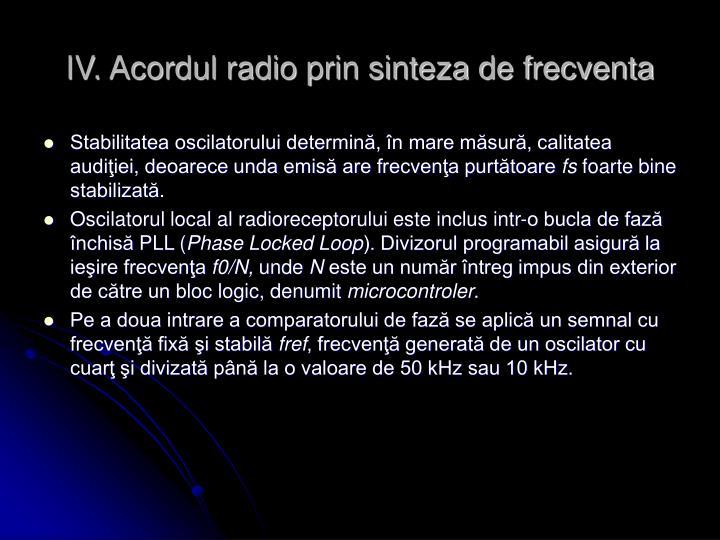 IV. Acordul radio prin sinteza de frecventa
