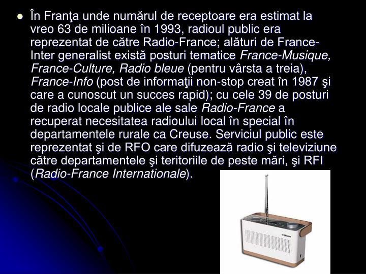 În Franţa unde numărul de receptoare era estimat la vreo 63 de milioane în 1993, radioul public era