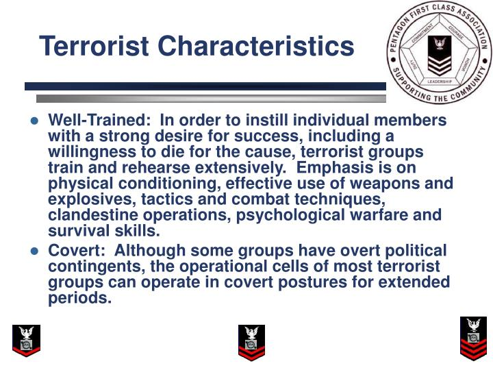 list the characteristics of a successful terrorist Bioterrorism does not have to cause large numbers of immediate deaths to be effective most biological agents do not cause widespread immediate fatalities, or even large numbers of deaths within days of exposure, and most exposed patients might not even have a life-threatening disease.